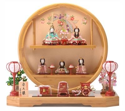 まあるい雛人形、木村一秀五人飾り