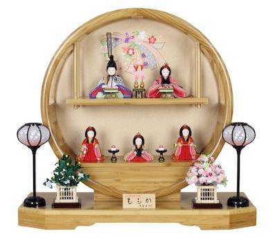 まあるい雛人形、大里彩五人飾り