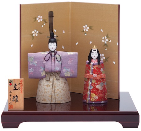 立雛の雛人形・千寿立雛二曲絹シケ屏風セット